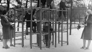 Children on jungle gym at Child Study Center circa 1925