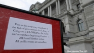 sign explaining closure of government buildings