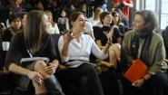 President Bottomly listens as student speaks animatedly