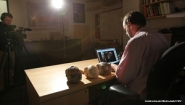 Photo of Wellesley Prof Adam Van Arsdale being filmed for MOOC, SUZANNE KREITER/GLOBE STAFF