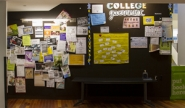campus bulletin board covered with fliers