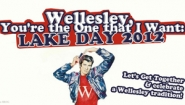 "promotional graphic for Lake Day saying ""You're the one that I want,"" with ""Fonz"" lookalike"