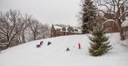 Traying/sledding down Severance Hill