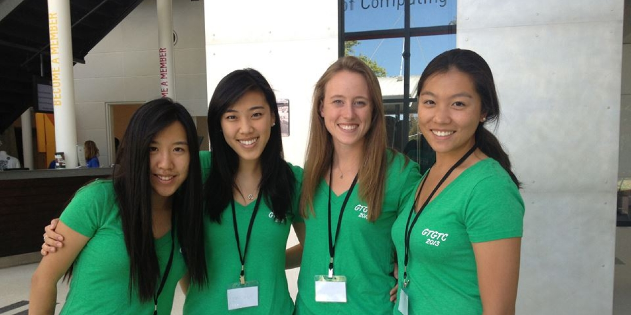 Heidi Wang '12 with the other founding members of Girls Teaching Girls to Code