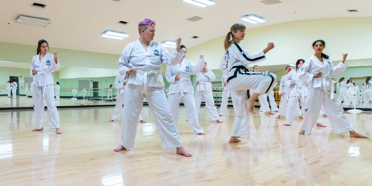 Students practice taekwon-do with their instructor.