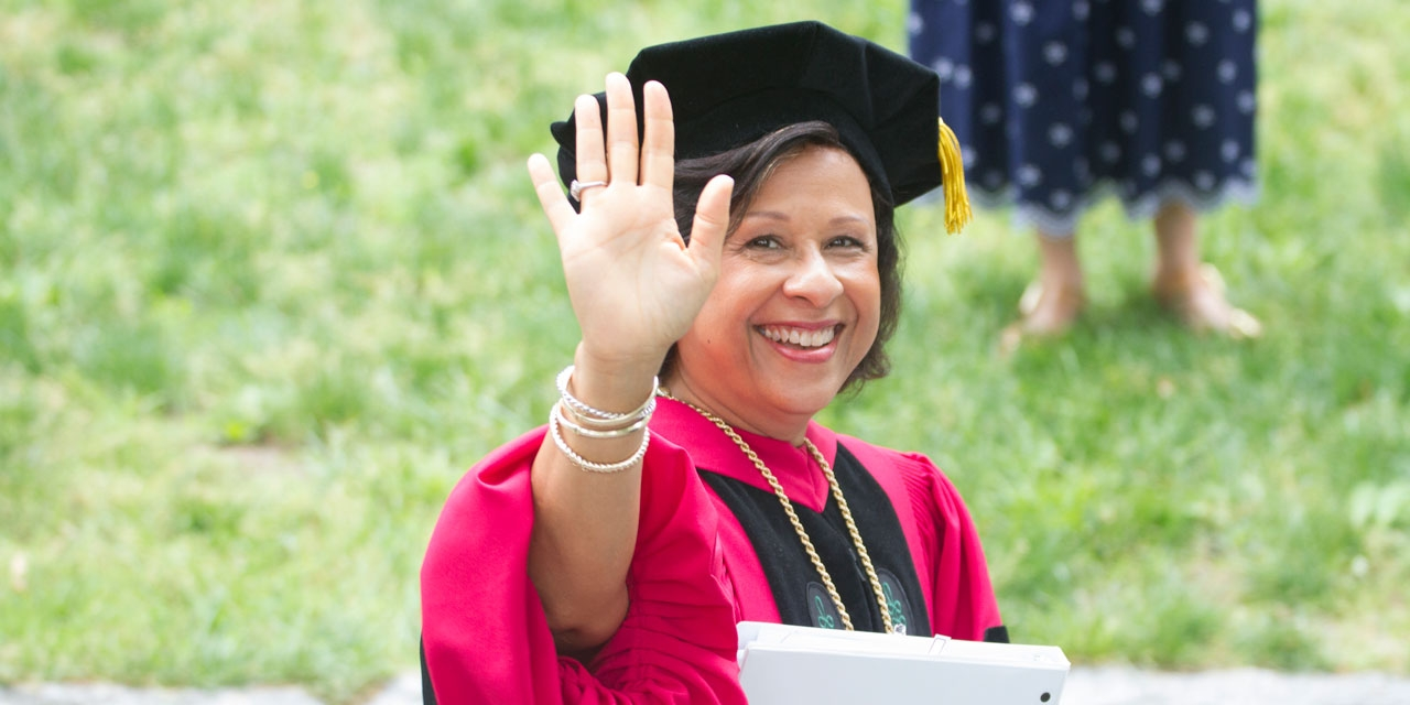 President Paula A. Johnson arrives to take her place in the procession.