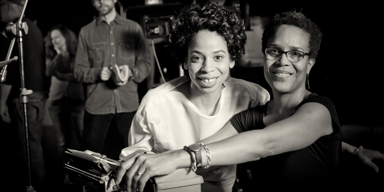 Tracy Heather Strain directs the actress playing Lorraine Hansberry in a reenactment scene.