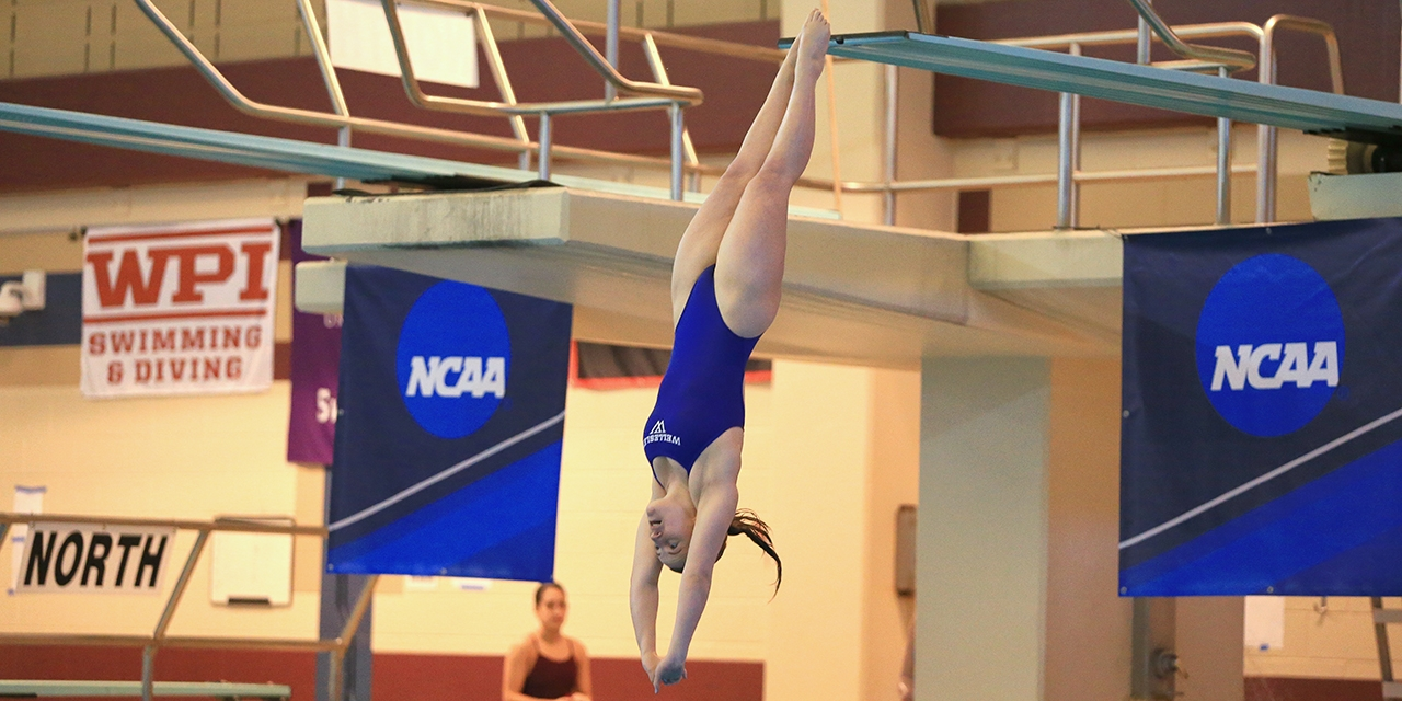 Maura Sticco-Ivins '18 competes in three-meter diving last winter at the NCAA Division III Championships in Shenandoah, Texas.