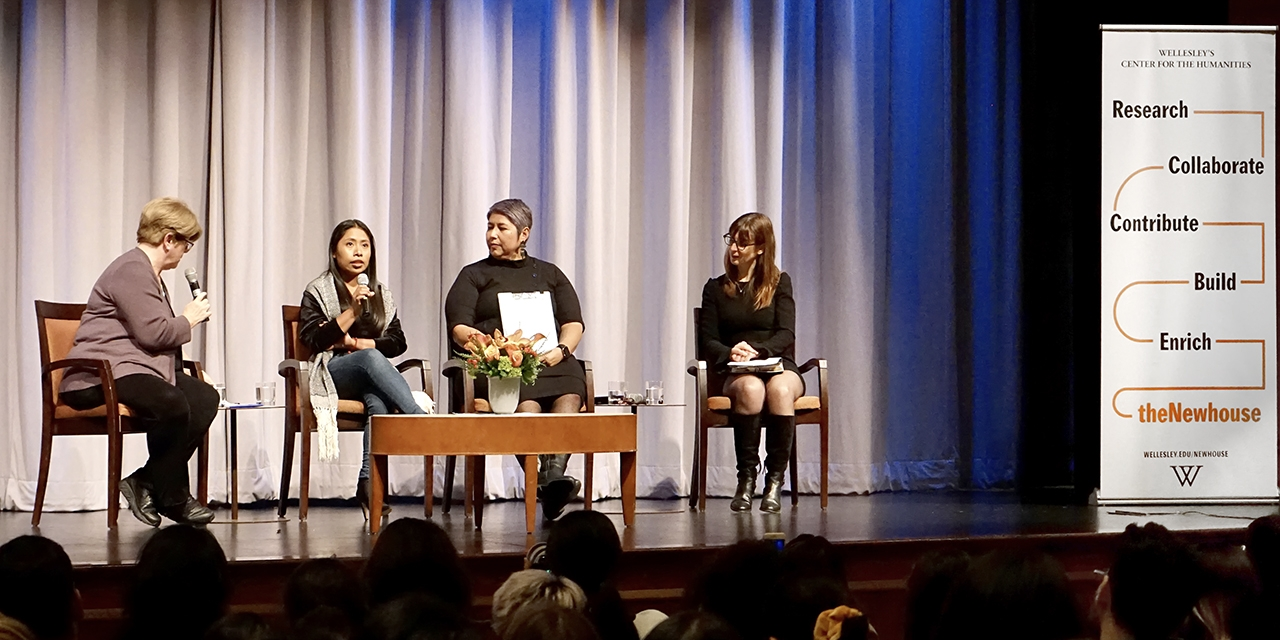 Professors join actress Yalitza Aparicio on stage at Wellesley College for an event.