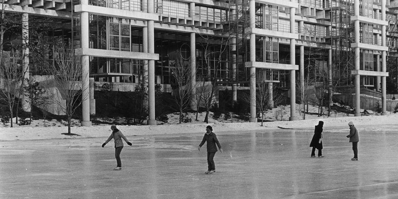 Skating in front of the Science Center, 1978