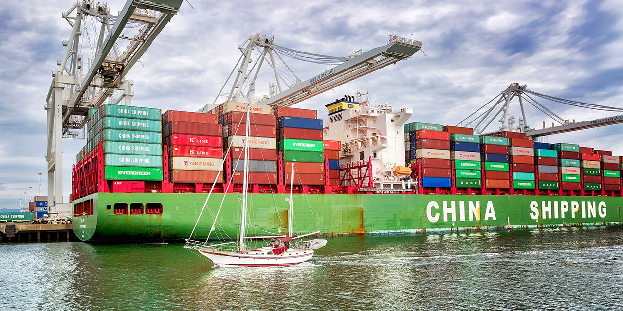 A loaded China shipping cargo ship at the Port of Oakland.
