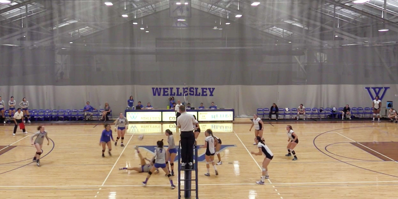 "Volleyball setter Michelle Li '19 with a ""kick save"""