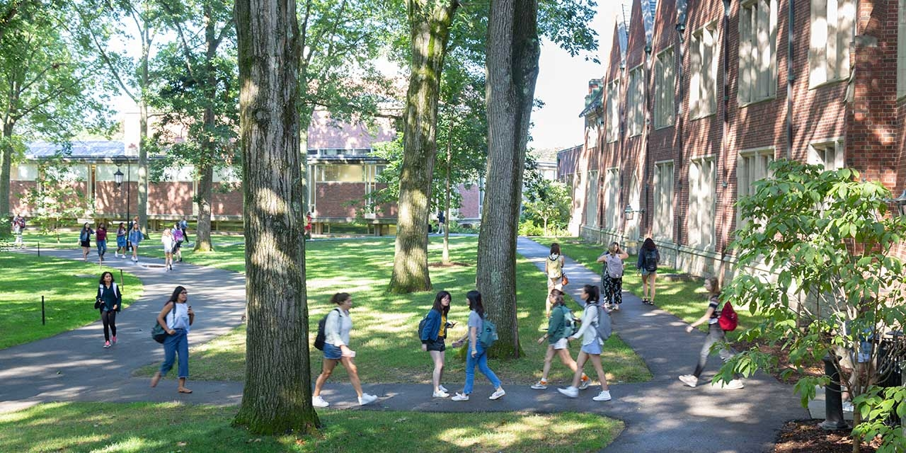 students walking across the Academic Quad