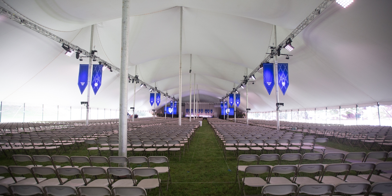 Chairs line the inauguration tent