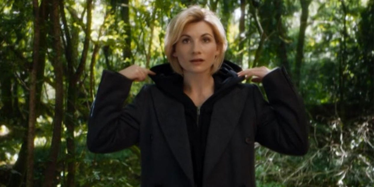 Jodie Whittaker in film still, trailer for Dr. Who, season 11