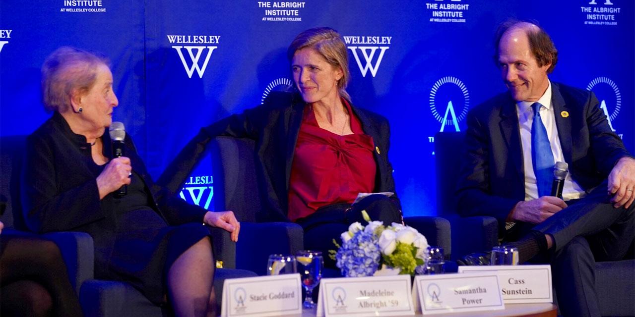 Madeleine Albright, Samantha Power and Cass Sunstein speak to a crowd.