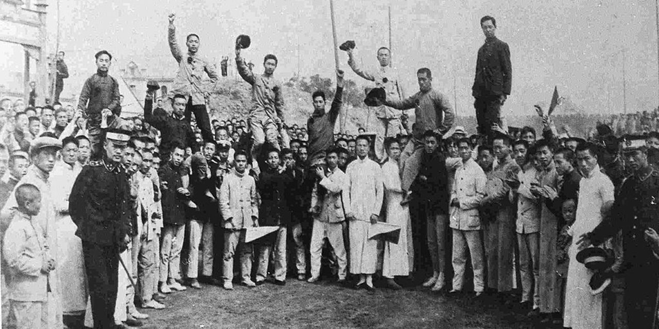 Students of Beijing Normal University returning to the university on May 7, 1918, after being arrested for their involvement a
