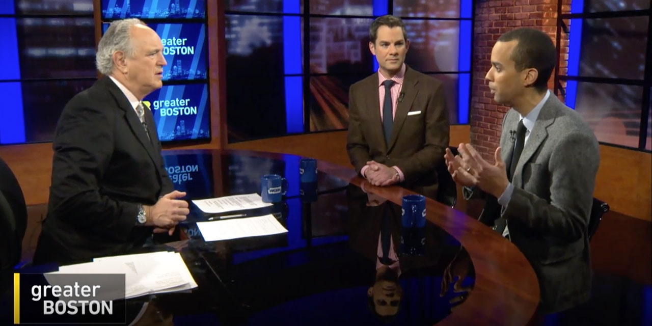 Three men sit around a table on WGBH's Greater Boston
