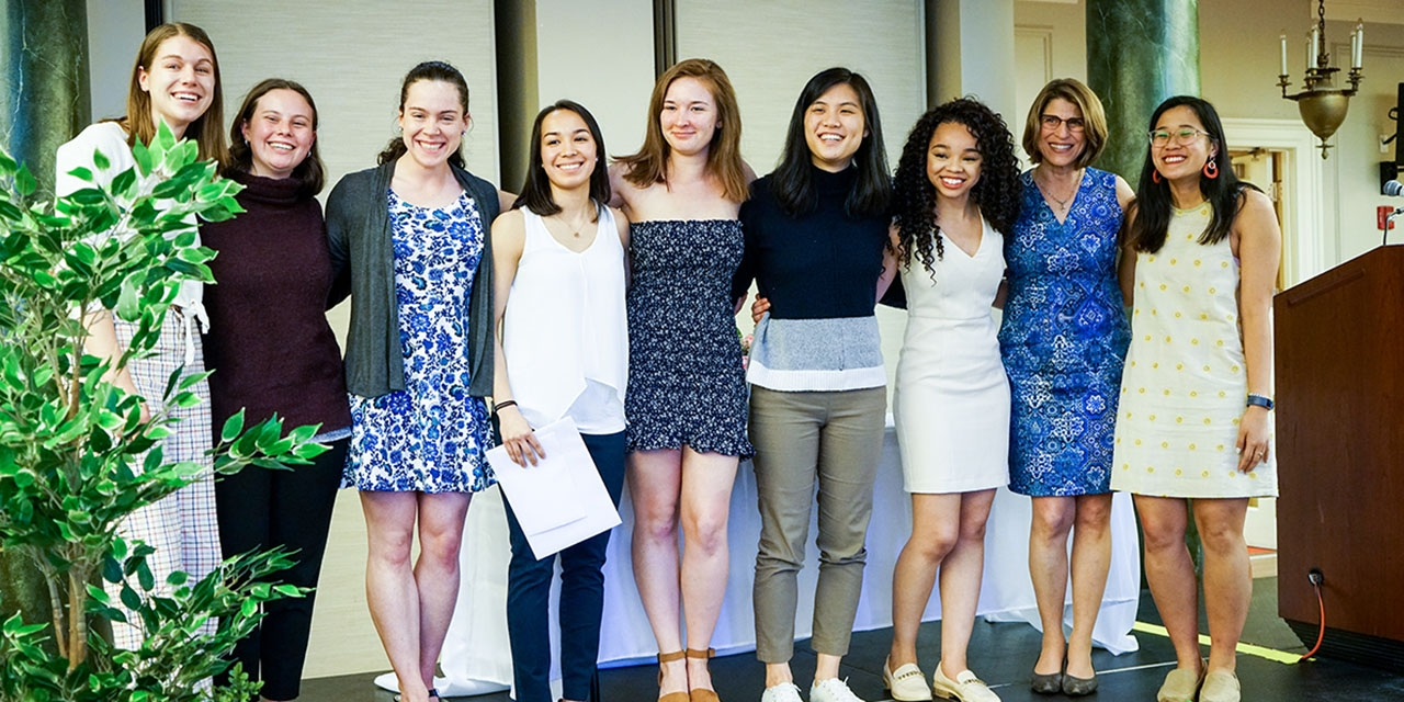 A group of students pose for a photo at the Camellia Leadership Awards.