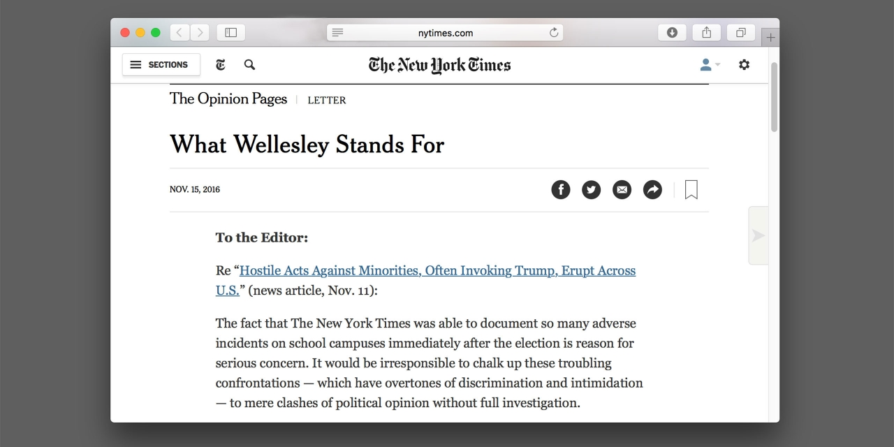 New York Times letter to the editor