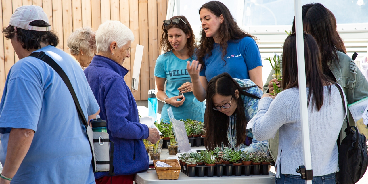 Students and community members gather around small potted plants.