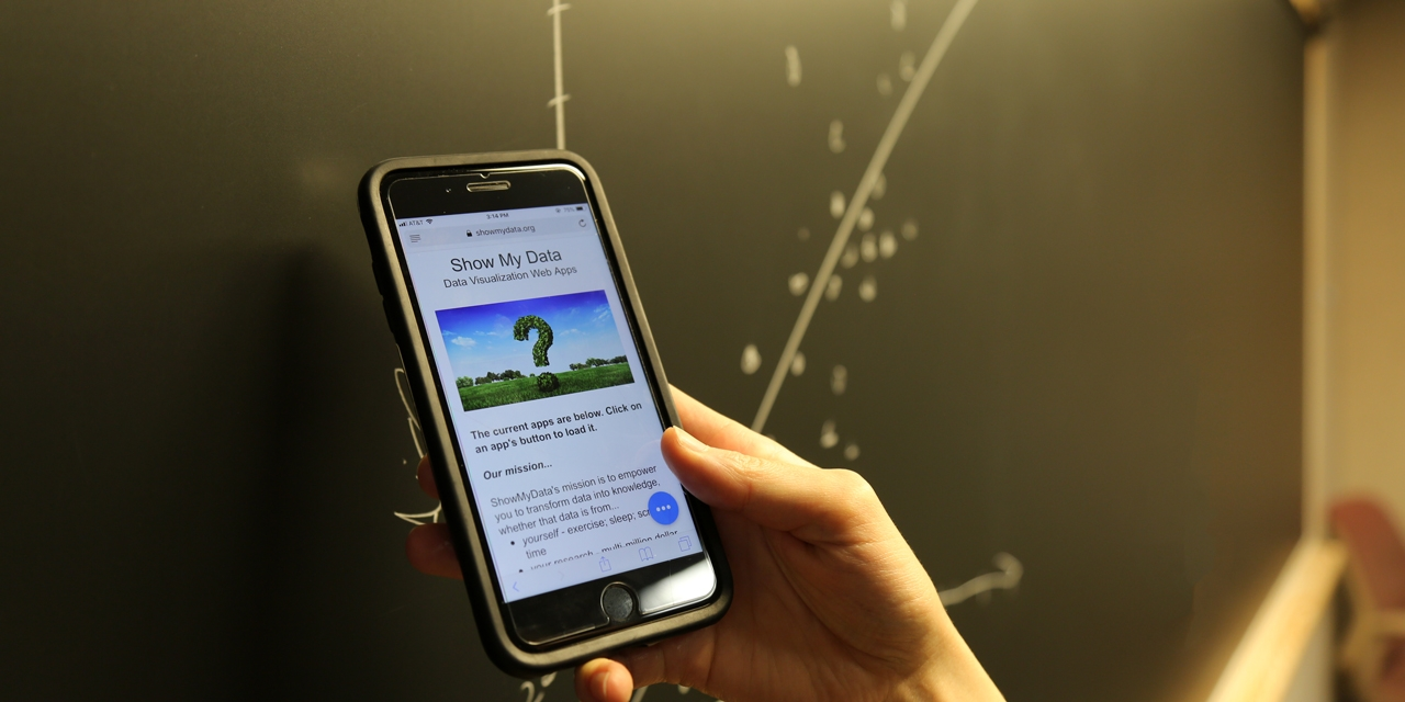 "A close shot of someone holding a phone that reads ""show my data"" in front of a blackboard with the scatter plot."