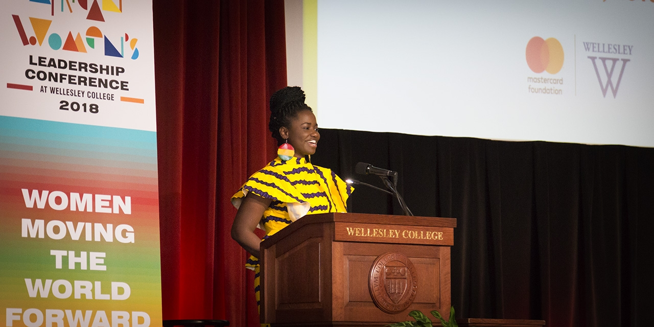 Mastercard Foundation Scholars Council Representative Sandra Ohemeng '20 welcomes conference participants on Thursday morning.