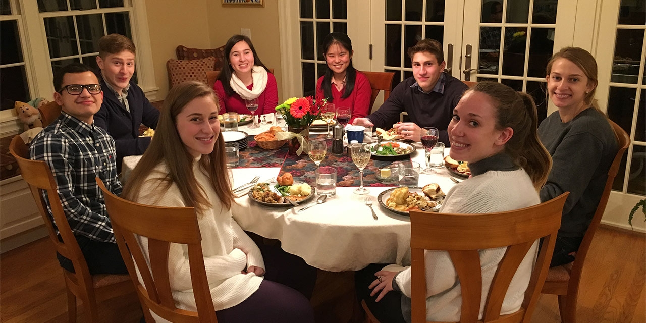 students from around the country enjoy a Thanksgiving meal