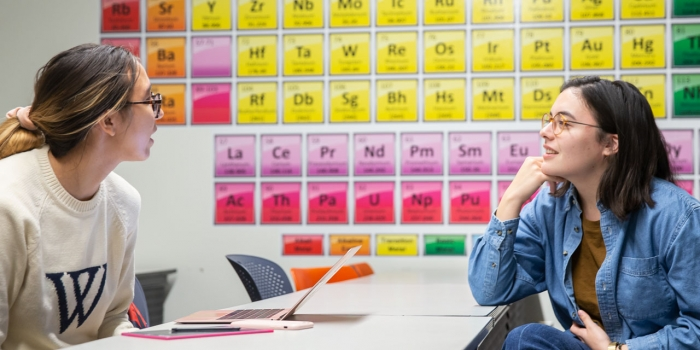 Two students sit in the new science center looking at a wall-sized, colorful periodic table.