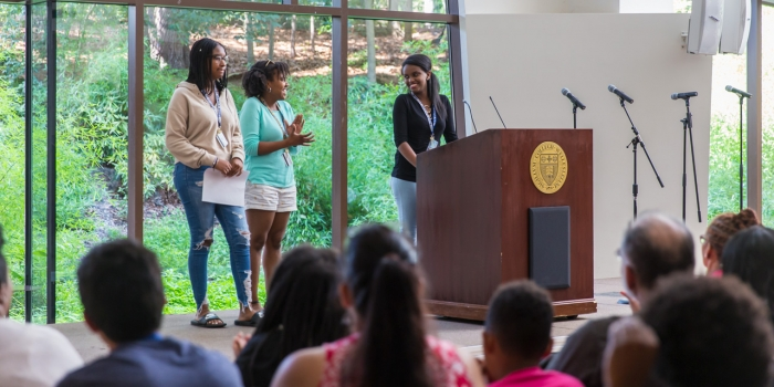 Upward Bound students present in Tishman Commons