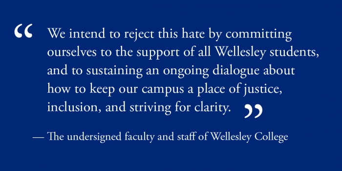 Wellesley faculty and staff sign letter of condemnation