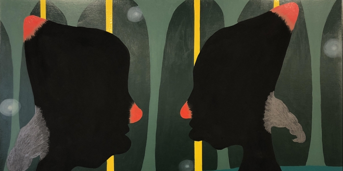 """Alexandria Smith's """"portrait of a Love Supreme,"""" which depicts 2 silhouettes of human faces."""