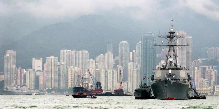 A US ship docked near Hong Kong.