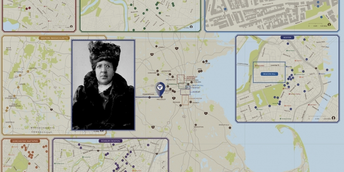 A map of Massachusetts with  a figure of a woman.