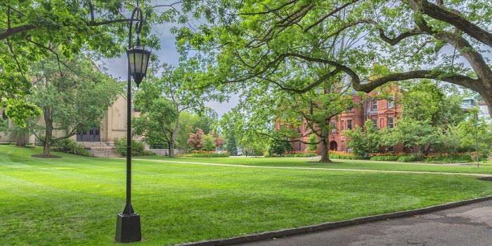 Wellesley lamppost in front of the chapel and Billings
