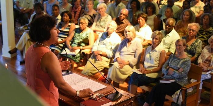 President Johnson speaks at Union Chapel