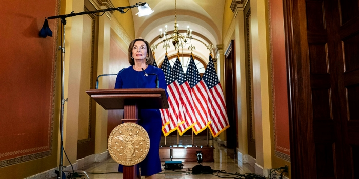 Nancy Pelosi delivers an address to the nation