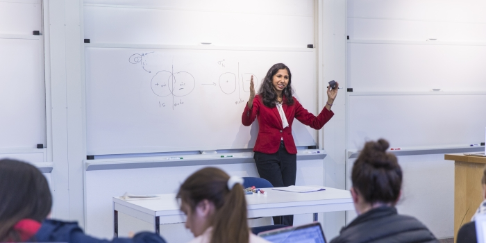Professor Mala Radhakrishnan Teaching a Chemistry Class