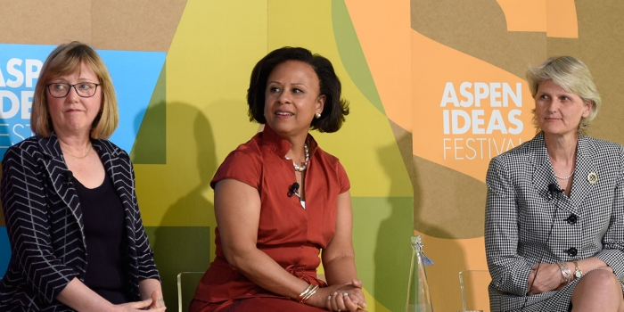 At the 2017 Aspen Ideas Festival, President Paula Johnson spoke about expanding colleges' focus on health and wellness.
