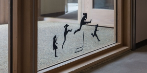 Amanda Manning '18 created paper silhouettes that evoke the artistry and athleticism of a runner clearing a hurdle.