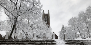 The Wellesley tower in the snow.