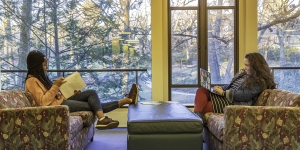 Two students study in the library.
