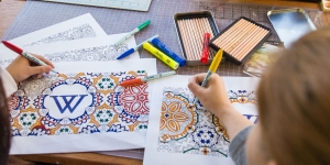 Students try contemplative coloring
