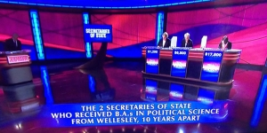 Contestants on Jeopardy Answer Question on Wellesley College Alumae