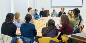 Professors Martin Brody, Patricia Berman, and Alice Friedman and their class