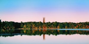A fall view of campus from lake waban.