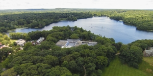 an aerial view of Lake Waban