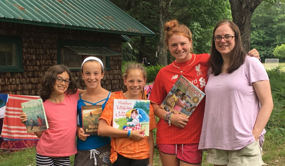 Professor Susan Lynn Meyer with some of the girls she met at Camp Runoia in Maine