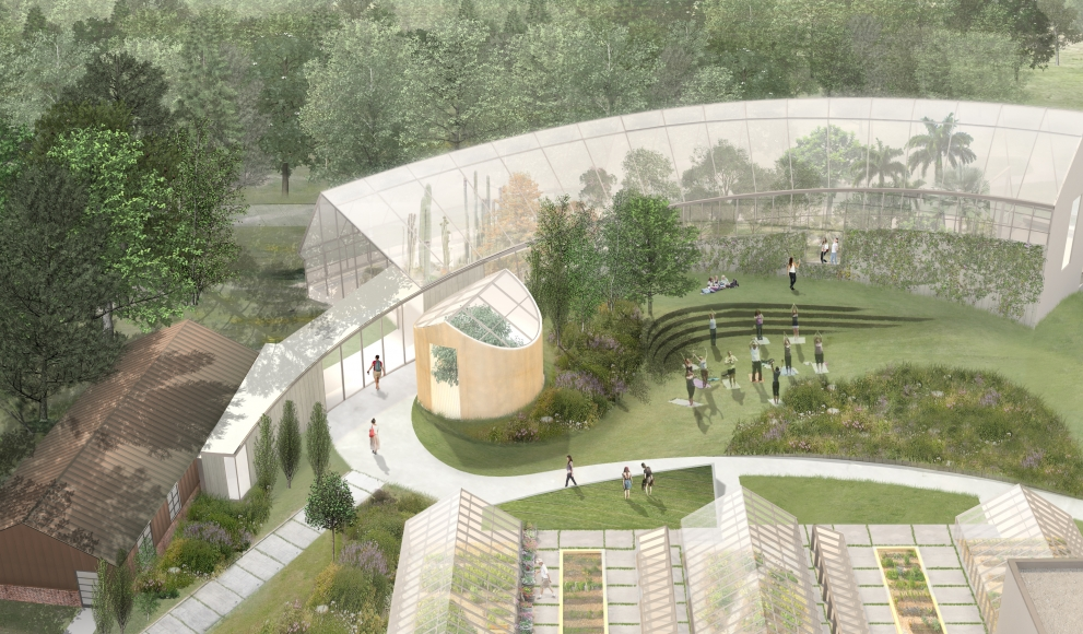 A architectural rendering of Global Flora, consisting of a greenhouse and green space