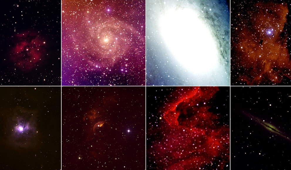 Various images of star clusters taken by students using a new campus microscope